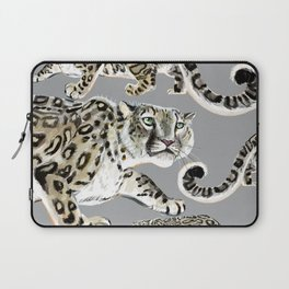 Snow leopard in grey Laptop Sleeve