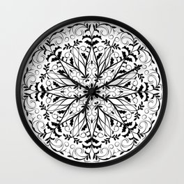 Floral round in the vintage style. Black and white nature ornament. Wall Clock