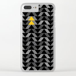 Triangle -Yellow and Grey Clear iPhone Case