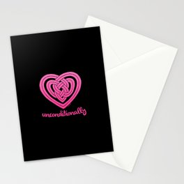 UNCONDITIONALLY in pink on black Stationery Cards
