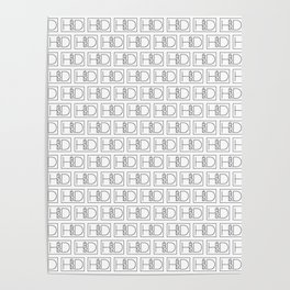 HD Soap Black Tiled on White Poster