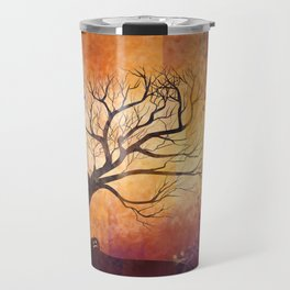 Halloween tree silhouette digital illustration Travel Mug