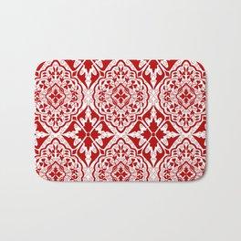 BOHEMIAN PALACE, ORNATE DAMASK: RED and WHITE Bath Mat