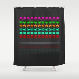 Pixel invaders : Incoming ! Shower Curtain