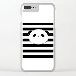 Cute, stripy Panda Face Clear iPhone Case