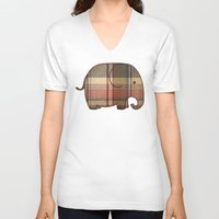 plaid V-neck T-shirts featuring Plaid Elephant  by Terry Fan