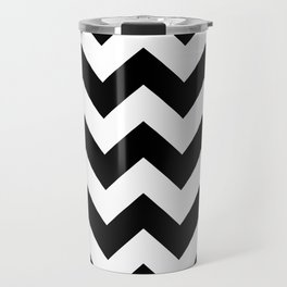 Heart & Chevron - Black/Pink Travel Mug
