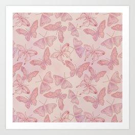 Butterfly Pattern soft pink pastel Art Print