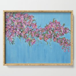 Cherry Blossoms, Pink Flower Wall Art Prints, Impressionism Serving Tray