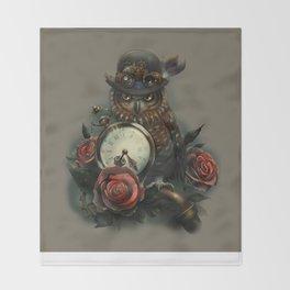 Sir Owl. Steampunk Throw Blanket