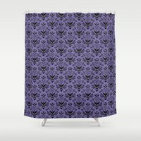haunted mansion Shower Curtains featuring Haunted Mansion Wallpaper by MiliarderBrown