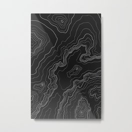 Black & White Topography map Metal Print