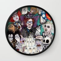 tim burton Wall Clocks featuring TIM BURTON TEA PARTY by ●•VINCE•●