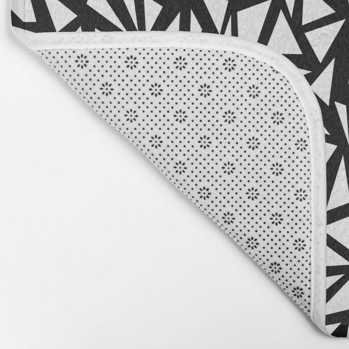 Try Me - memphis modern black and white minimal angular geometric triangle fun 1980s retro  Bath Mat