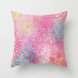 Colorful Mehndi Mandala Doodle Throw Pillow