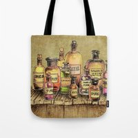 oil Tote Bags featuring Snake Oil by Eric Fan
