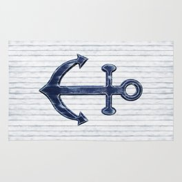 Rustic Anchor in navy blue Rug