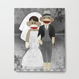 Sock Monkey Wedding Metal Print