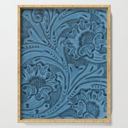 Cornflower Blue Tooled Leather Serving Tray