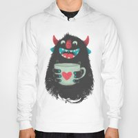 cup Hoodies featuring Demon with a cup of coffee by Lime