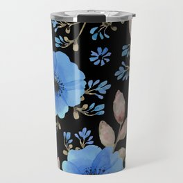 Blue flowers with black Travel Mug