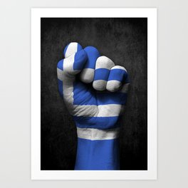 Greek Flag on a Raised Clenched Fist Art Print