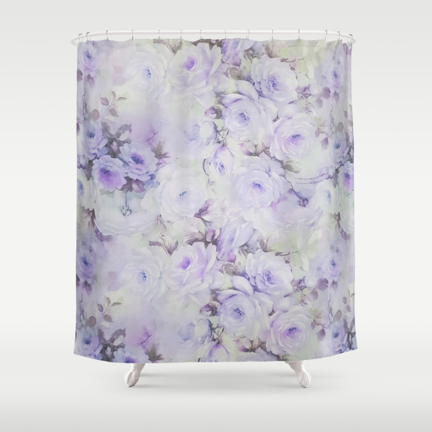 Vintage Lavender Gray Botanical Roses Floral Shower Curtain By Pink Water Society6