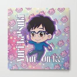 Chibi Yuri Pig Version Metal Print