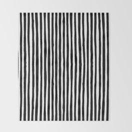 Black and White Vertical Stripes Throw Blanket