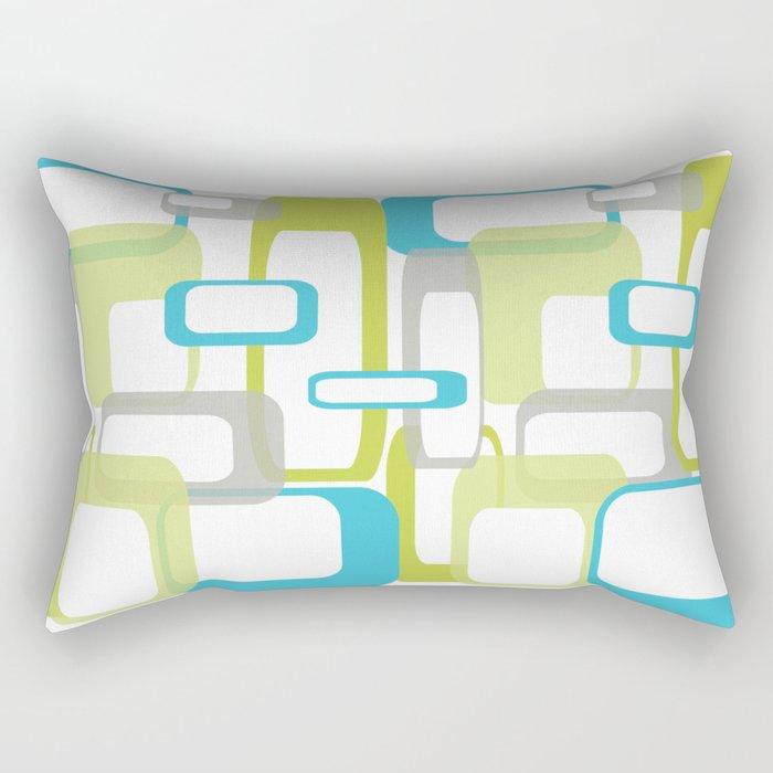 Mid-Century Modern Rectangle Design Blue Green and Gray Rectangular Pillow