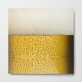 Funny Bubbles Beer Glass Gold Metal Print