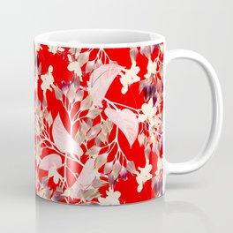 Floral Burst in Red Coffee Mug