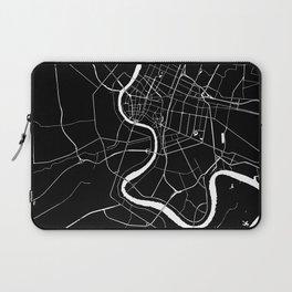 Bangkok Thailand Minimal Street Map - Midnight Black and White Laptop Sleeve