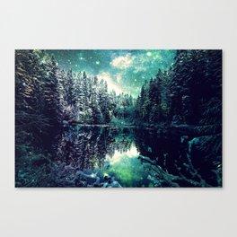 A Cold Winter's Night : Spearmint Teal Green Winter Wonderland Canvas Print