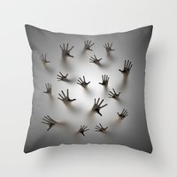 dark souls Throw Pillows featuring Lost souls by GrandeDuc