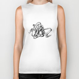 Ballet shoes black and white sketch Biker Tank