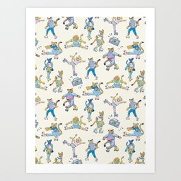 The Wildcats; Retro Rollerskating Illustration Art Print