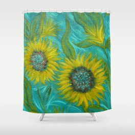 Sunflower Abstract on Turquoise I Shower Curtain