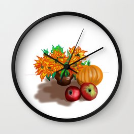 pumpkin sunflowers and apples Wall Clock