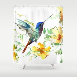 Hummingbird and Flowers, floral design Hawaiian tropical Shower Curtain