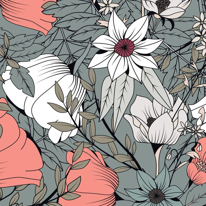 Seamless pattern design with hand drawn flowers and floral elements Leggings