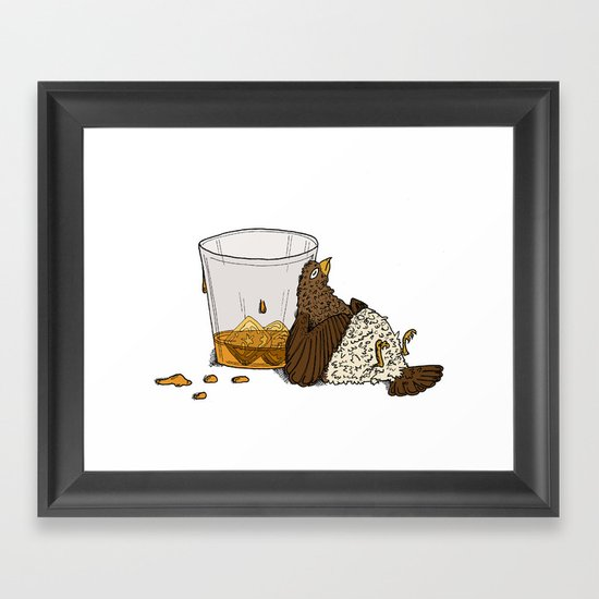 Thirsty Grouse - Colored with White Background Framed Art Print