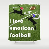 football Shower Curtains featuring American Football by Cs025