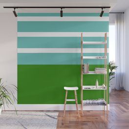 Summer Delight, teal, white and green Wall Mural