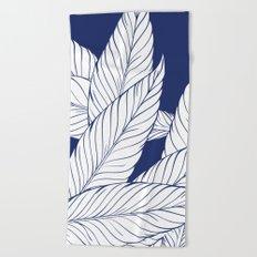 SUMMERTIME (Leaves on blue) Beach Towel