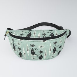 Mid Century Meow Retro Atomic Cats Mint Fanny Pack