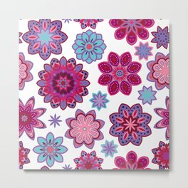 Flower retro pattern. Purple and blue flowers on white background. Metal Print