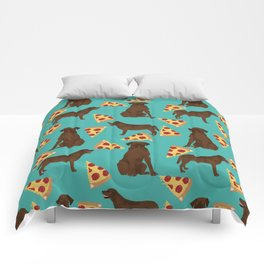 chocolate lab pizza dog breed pet portrait gifts for labrador retriever lovers Comforters