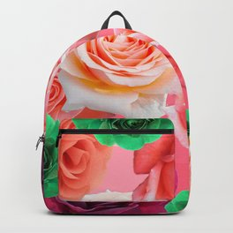 Multi Colored Roses - Green Pink Dark Red Backpack