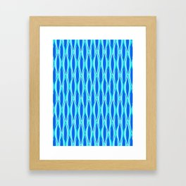 Mid-Century Ribbon Print, Shades of Blue and Aqua Framed Art Print